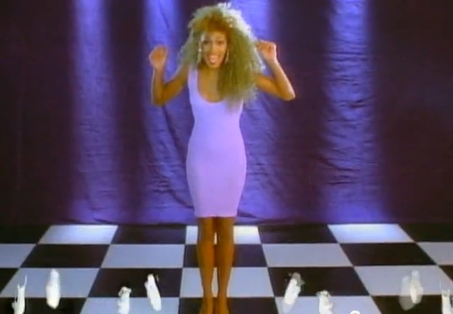 "Dancing with nobody in the ""I Wanna Dance With Somebody"" music video in 1987"