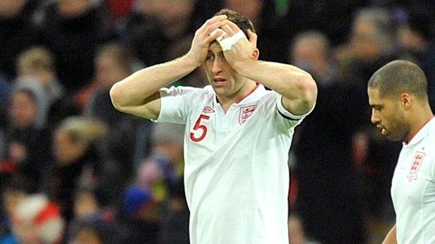 Gary Cahill playing for England against Brazil, February 2013