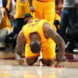 LeBron James Falls to Floor After Final Buzzer