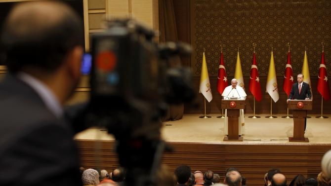 Pope Francis and Turkey's President Erdogan address to media at the presidential palace in Ankara