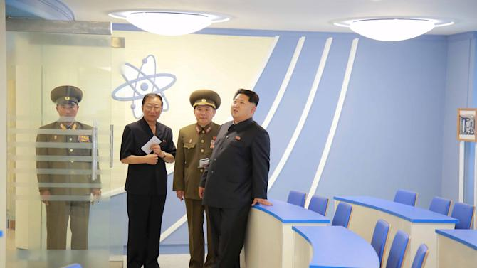 KCNA picture shows North Korean leader Kim Jong Un during a visit to a newly-built building of the Automation Institute of the Kim Chaek University of Technology in Pyongyang