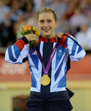 Great Britain's Laura Trott celebrates with her Gold medal after winning the Women's Omnium