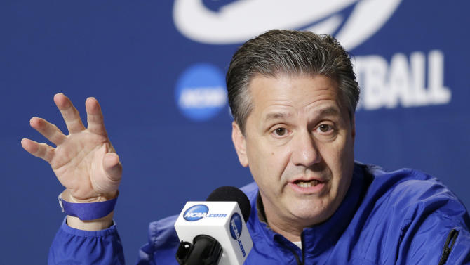 Kentucky head coach John Calipari answers questions during his news conference at the NCAA men's basketball tournament Friday, March 27, 2015, in Cleveland. Kentucky plays Notre Dame in the regional final Saturday, hoping to extend their unbeaten streak and reach the Final Four. (AP Photo/Mark Duncan)