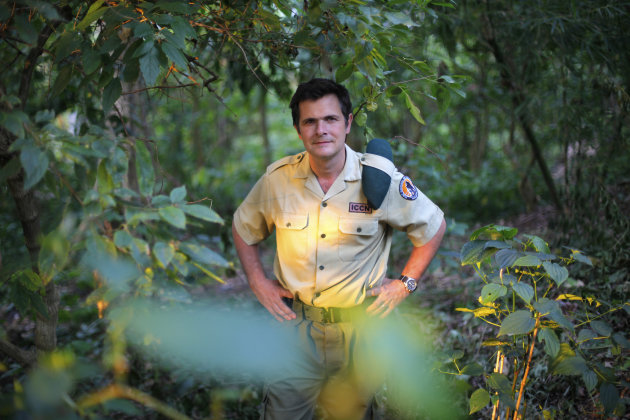 In this picture taken Wednesday Aug. 11, 2012, Emmanuel de Merode, Virunga National Park director and chief warden poses at the park headquarters in Rumangabo, some 60 kms (40 miles) north of Goma, eastern Congo. Virunga National Park, where virtually every rebellion in eastern Congo in the past 30 years has started, and its endangered mountain gorillas, are facing increasing threats from a new rebel group and from a decision to open Africa&#39;s oldest national park to oil exploration.Virunga now has about a quarter of the worlds remaining 790 mountain gorillas, with the others concentrated in parks in neighboring Rwanda and Uganda. (AP Photo/Jerome Delay)