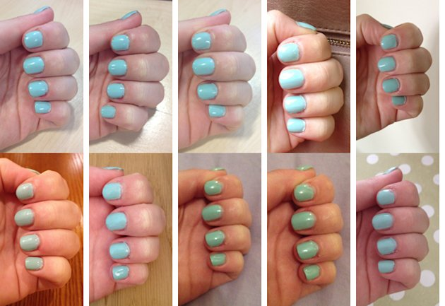 Gel Manicure in Essie Mint Candy Apple pictured every day for 10 days