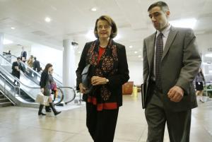 U.S. Senator Feinstein walks to a closed-door…