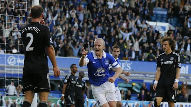Everton's Steven Naismith (C) celebrates scoring a goal against Chelsea during their English Premier League match at Goodison Park (Reuters)