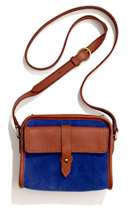Camden Bag in Blue Suede, $118