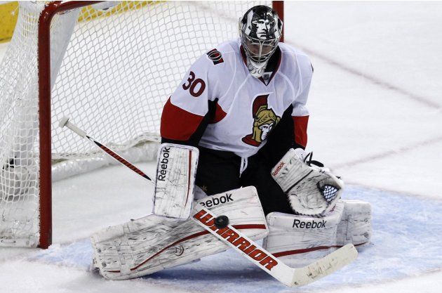 Senators goalie Bishop makes a save against the Philadelphia Flyers during their NHL game in Philadelphia