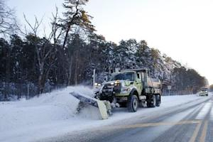 Road crews plow Route 33 after a winter storm in Monmouth …