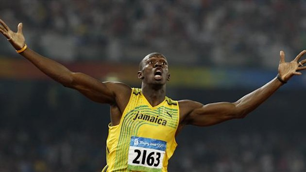 Usain Bolt celebrates winning the 200m at the 2008 Olympic Games