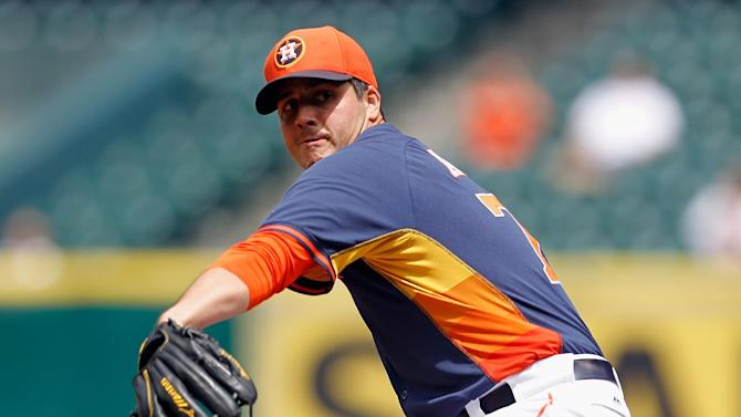 Houston Astros' Mark Appel throws in the first inning of a spring exhibition baseball game against Rojos del Aguila de Veracruz on Sunday, March 30, 2014, in Houston