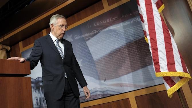 Senate Majority Leader Harry Reid of Nev. leaves the podium after a news conference on Capitol Hill in Washington, Wednesday, Nov. 7, 2012, where he discussed Tuesday's election. (AP Photo/Susan Walsh)