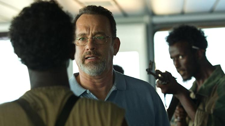 "This film image released by Sony - Columbia Pictures shows Tom Hanks, center, in ""Captain Phillips."" (AP Photo/Sony - Columbia Pictures)"