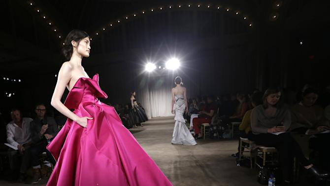 A model walks the runway during the Marchesa Fall 2013 fashion show during Fashion Week in New York on Wednesday, Feb. 13, 2013.  (AP Photo/Kathy Willens)