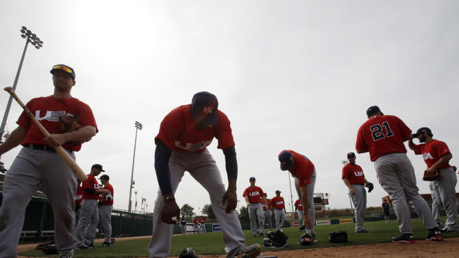 The United States team prepares to take batting practice before exhibition baseball game Tuesday, March 5, 2013, in Glendale, Ariz. The game is the first of two exhibitions the team will play leading up the the start of the World Baseball Classic. (AP Photo/Mark Duncan)
