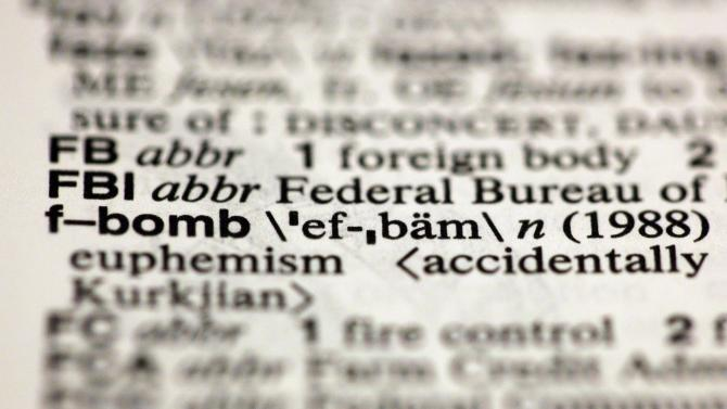 """The entry """"f-bomb,"""" photographed in New York, Friday, Aug. 10, 2012, is one of the 15 new additions in the 11th edition of Merriam-Webster's Collegiate Dictionary. (AP Photo/Richard Drew)"""