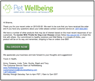 Email Marketing: A Chance for Love Letters to Your Customers image Pet wellbing email1