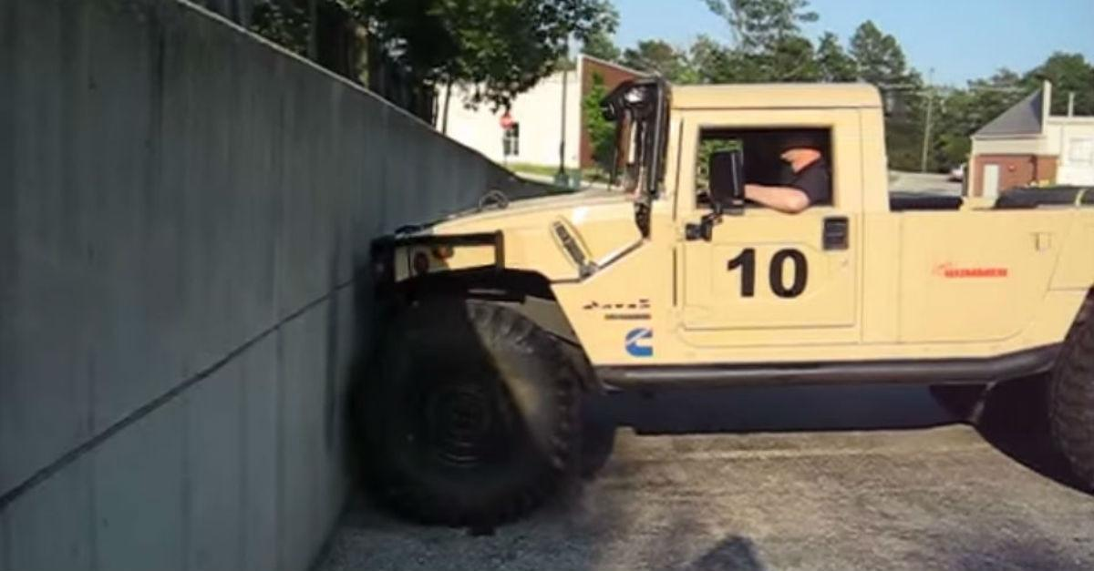 "Humvee Tries To Climb Wall ""Watch What Happens"""