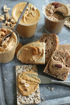 This June 22, 2015 photo shows homemade nut butters …