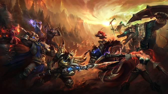 "This image provided by Riot Games shows publicity artwork for the videogame ""League of Legends.""  The dizzying world championships of the online battle arena game ""League of Legends"" concluded Saturday, Oct. 13, 2012, inside the University of Southern California's Galen Center, which typically hosts basketball _ not video _ games, with underdog Taiwan's Taipei Assassins defeating South Korea's Azubu Frost to win the tournament's $1 million grand prize. (AP Photo/Riot Games)"