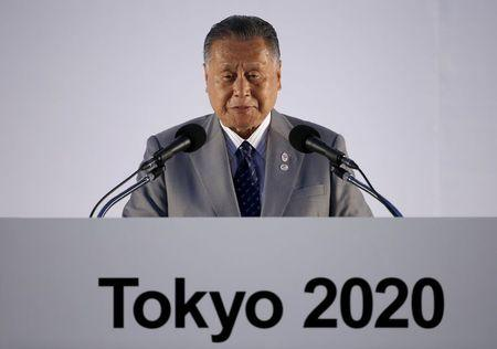Yoshiro Mori, Japan's former Prime Minister and president of the Tokyo 2020 delivers a speech during an unveiling event for the Tokyo 2020 Olympic and Paralympic games emblems at Tokyo Metropolitan Government Building in Tokyo