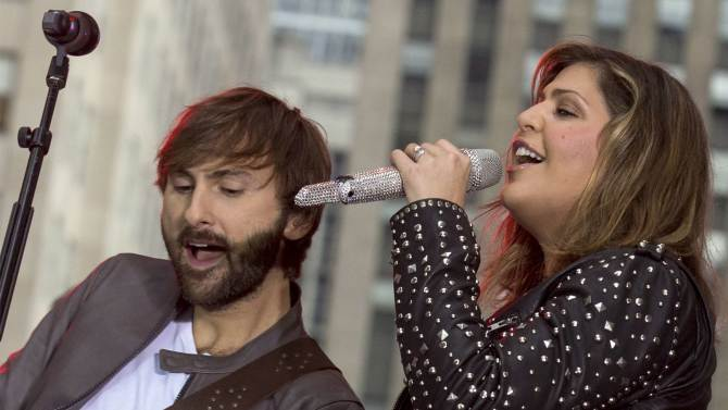 Members country band Lady Antebellum Dave Haywood and Hillary Scott perform on NBC's 'Today' show in New York