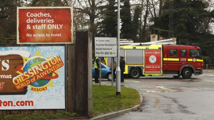 Fire engines attend Chessington World of Adventures where a fire broke out in a restaurant at Chessington in south west London