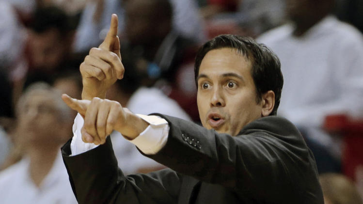 Miami Heat head coach Erik Spoelstra calls out a play during the first half of Game 1 of the NBA basketball playoff series in the Eastern Conference semifinals against the Chicago Bulls, Monday, May 6, 2013 in Miami. (AP Photo/Lynne Sladky)