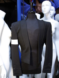 "In this image taken on Thursday, June 21, 2012, Michael Jackson's costume designed by Michael Bush is shown in Los Angeles. Bush, Michael Jackson's longtime costumer, tells the King of Pop's style secrets in a new photo-filled book, ""The King of Style: Dressing Michael Jackson"" to be released on October 30, 2012. (AP Photo/Jae C. Hong)"