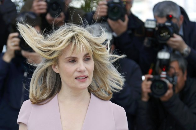 "Cast member Emmanuelle Seigner poses during a photocall for the film ""La Venus a la Fourrure"" at the 66th Cannes Film Festival"
