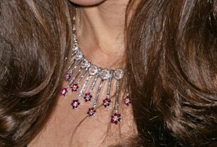 Middleton wore diamond and ruby jewels that she received as a wedding gift from a family friend