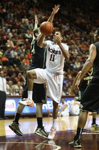 Brown lifts Virginia Tech past Wake Forest 66-65