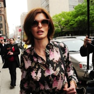 Linda Evangelista arrived at Manhattan Family Court last Thurs.