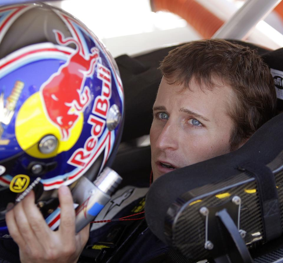 NASCAR driver Kasey Kahne prepares for practice laps for Sunday's NASCAR Toyota Save Mart 350 auto race, Friday, June 24, 2011, at Infineon Raceway in Sonoma, Calif. (AP Photo/Ben Margot)