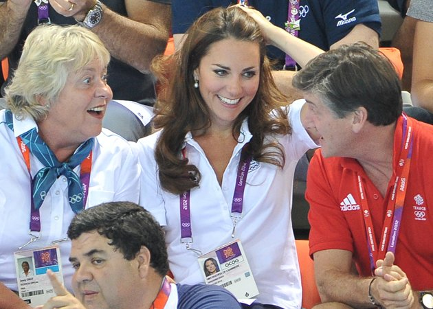 Kate Middleton player the perfect host as yesterday's games. Copyright [Getty]  It's no wonder then that the Duchess of Cambridge giggled her way through the synchronised swimming yesterday but it wa