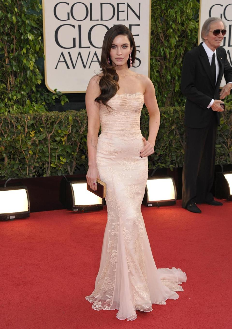 Actress Megan Fox arrives at the 70th Annual Golden Globe Awards at the Beverly Hilton Hotel on Sunday Jan. 13, 2013, in Beverly Hills, Calif. (Photo by John Shearer/Invision/AP)