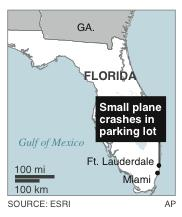 Map locates Ft. Lauderdale, Fla., where a small plane crashed into a parking lot.