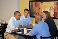 US President Barack Obama stops for breakfast with auto workers September 3, 2012 in Toledo, Ohio. Obama repeatedly touts his decision to offer the sickly US auto industry a government bailout in 2009 -- which Romney opposed -- as his campaign seeks to capture a state which is vital to the Republican's White House hopes