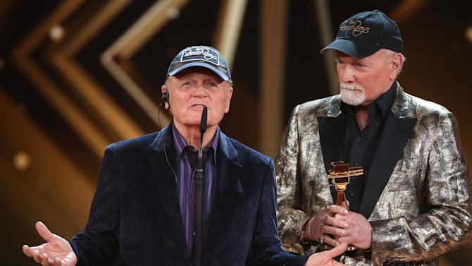 Johnston and Love of The Beach Boys accept award for Lifeswork Music during Golden Camera awards ceremony in Hamburg