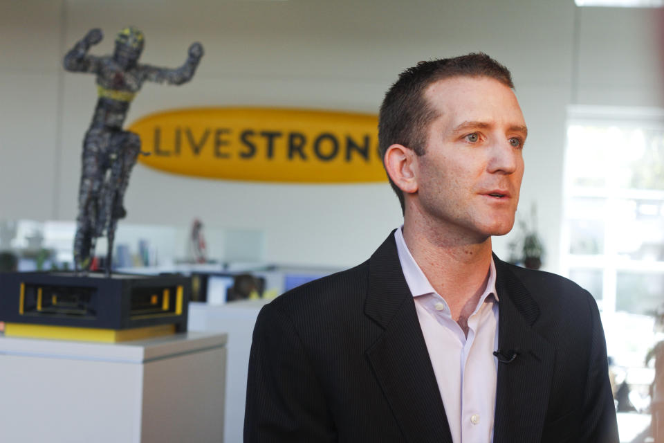 Livestrong CEO and president Doug Ulman discusses the future of the organization, Wednesday, Oct. 17, 2012, in Austin, Texas. Lance Armstrong stepped down as chairman of his Livestrong cancer-fighting charity on Wednesday. (AP Photo/Jack Plunkett)