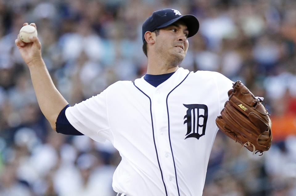Detroit Tigers starter Rick Porcello pitches against the New York Yankees in the first inning of a baseball game Tuesday, Aug. 7, 2012, in Detroit. (AP Photo/Duane Burleson)