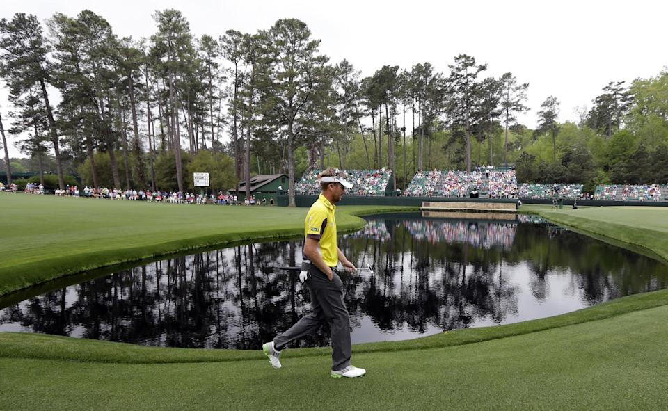 David Lynn, of England, walks to the 15th green during the first round of the Masters golf tournament Thursday, April 11, 2013, in Augusta, Ga. (AP Photo/David J. Phillip)