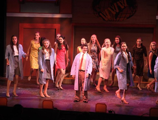"This Thursday, Aug. 16, 2012, photo shows actors performing ""How to Succeed in Business Without Really Trying"" at the summer camp Stagedoor Manor in Loch Sheldrake, N.Y. The camp, open to kids from 10 to 18, prides itself on attracting kids who have no interest in either children's theater or coddling. (AP Photo/Mark Kennedy)"