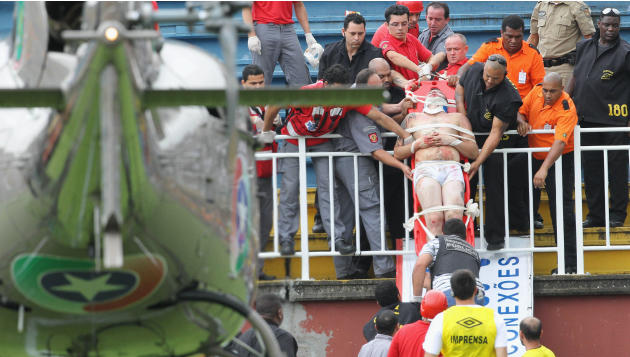 Brazil league soccer match halted by fan violence