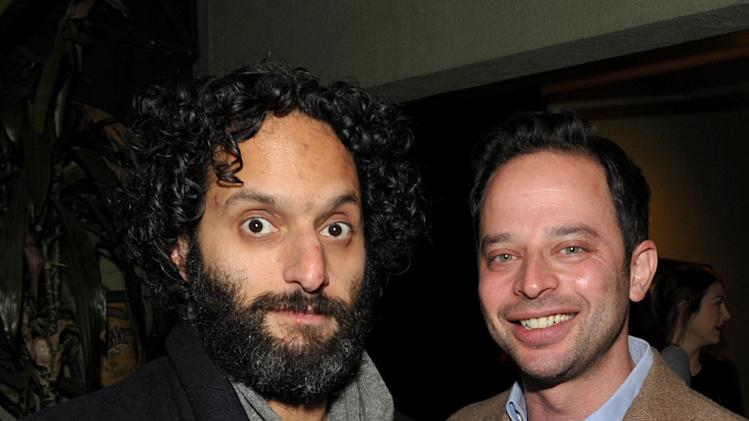 "Actor Jason Mantzoukas, left, and actor/comedian Nick Kroll attend an exclusive screening of Comedy Central's ""Kroll Show"" hosted by Entertainment Weekly on Tuesday, January 15, 2013 at LA's Silent Movie Theatre in Los Angeles. (Photo by John Shearer/Invision for Entertainment Weekly/AP Images)"