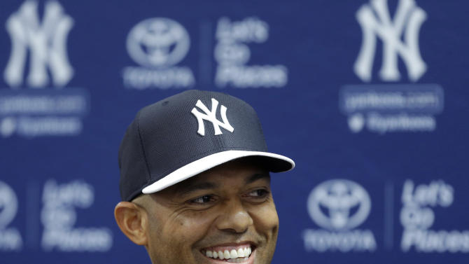New York Yankees pitcher Mariano Rivera, who holds baseball's all-time saves record, announces his plans to retire at the end of the 2013 season during a news conference at Steinbrenner Field, Saturday, March 9, 2013, in Tampa, Fla. (AP Photo/Kathy Willens)