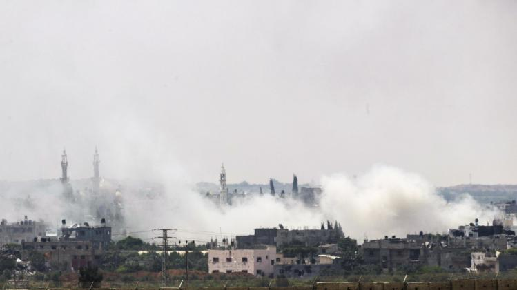 Smoke rises after an Israeli strike over the northern Gaza Strip