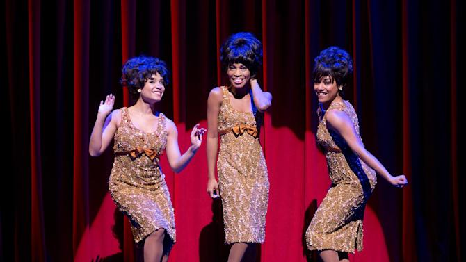 "This theater image released by Boneau/Bryan-Brown shows, from left, Sydney Morton as Forence Ballard, Valisia LeKae as Diana Ross and Ariana DeBose as Mary Wilson of The Supremes in ""Motown: The Musical,"" performing at the Lunt-Fontanne Theatre in New York. (AP Photo/Boneau/Bryan-Brown, Joan Marcus)"