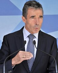 <p>NATO chief Anders Fogh Rasmussen speaks to the press in Brussels.</p>